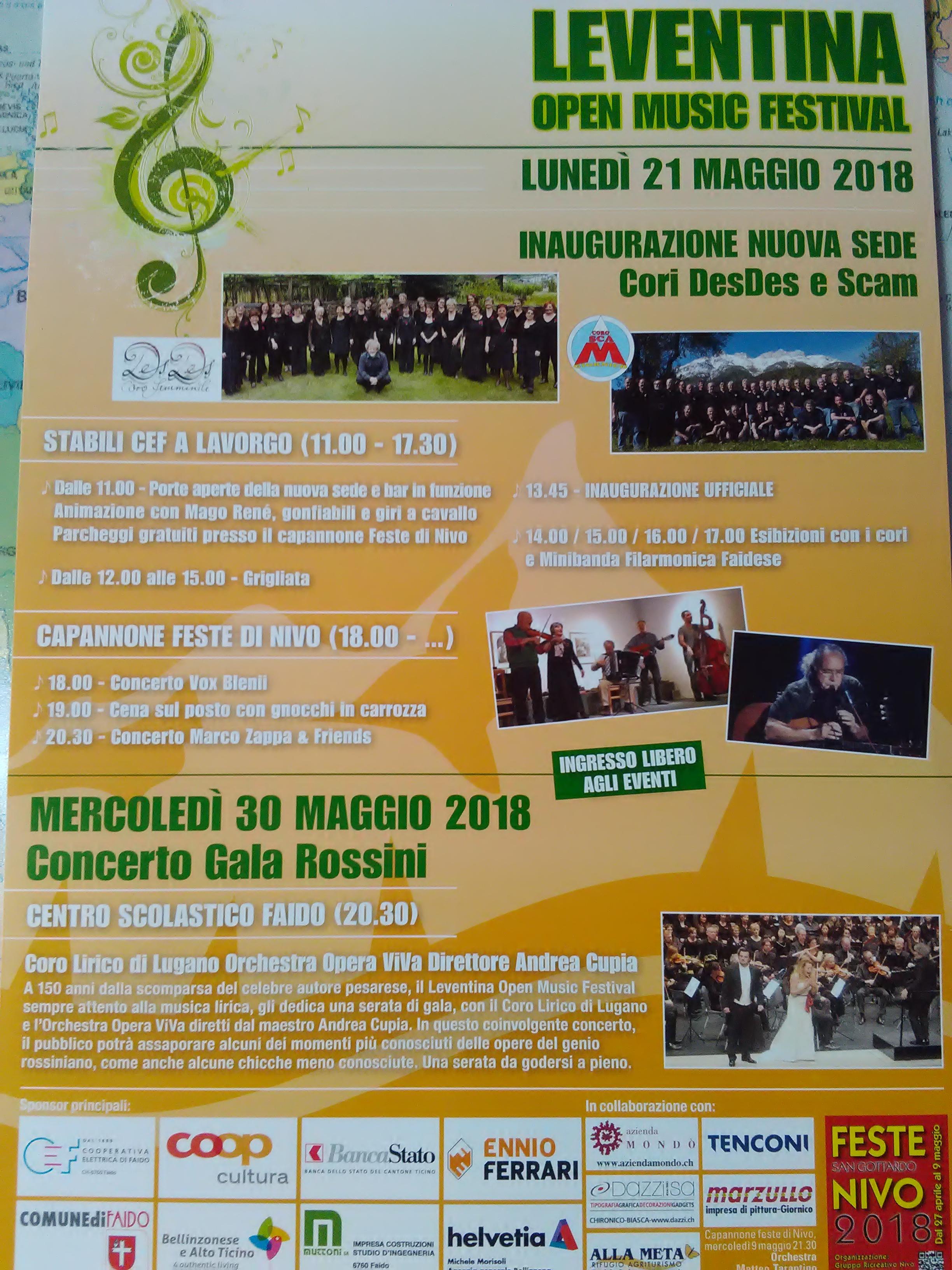Volantino Leventina Open Music Festival